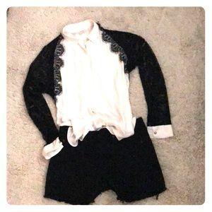 Rachel Roy lace sleeve button down blouse.